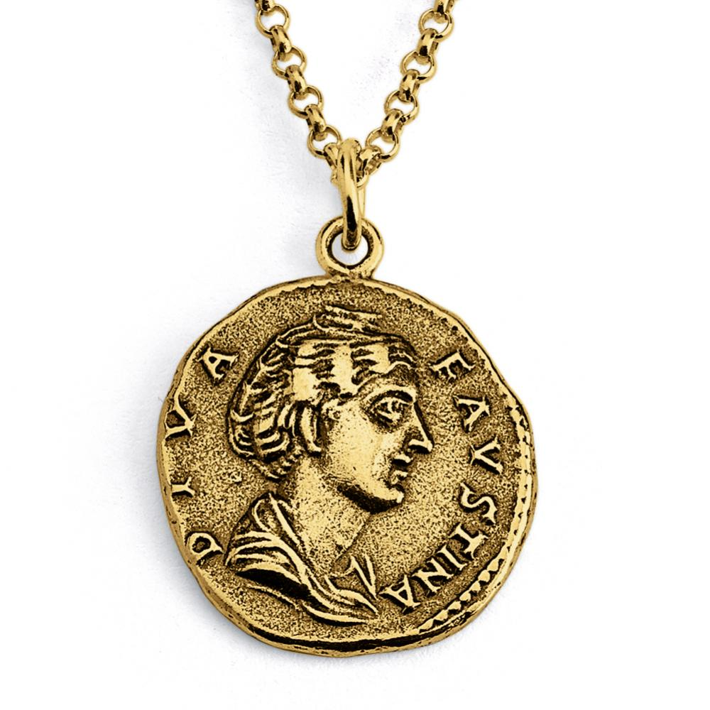 Azaggi Gold Plated Silver Necklace Campania Neapolis Replica Ancient Coin Money Currency Numismatic Charm Pendant Necklace.This Unisex Gold Plated Necklace is The Perfect Jewelry Gift