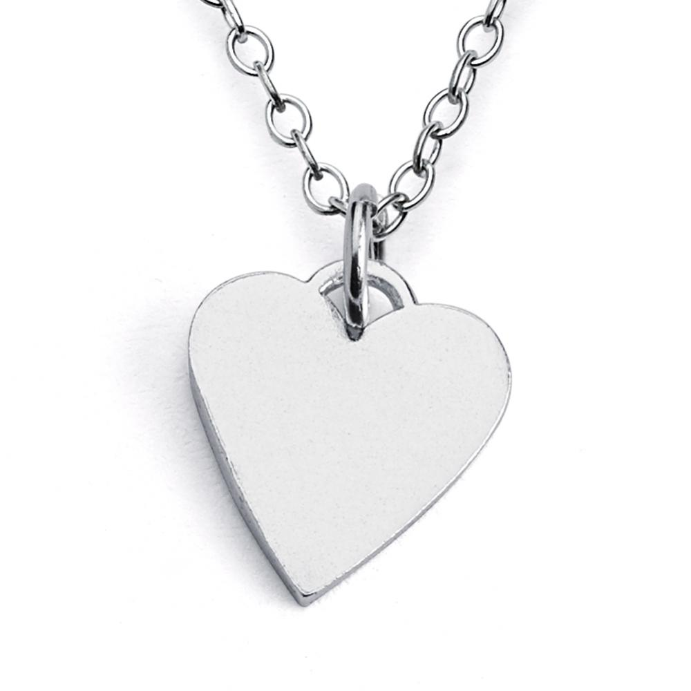Sterling Silver Solid Plain Heart Necklace Jewellery