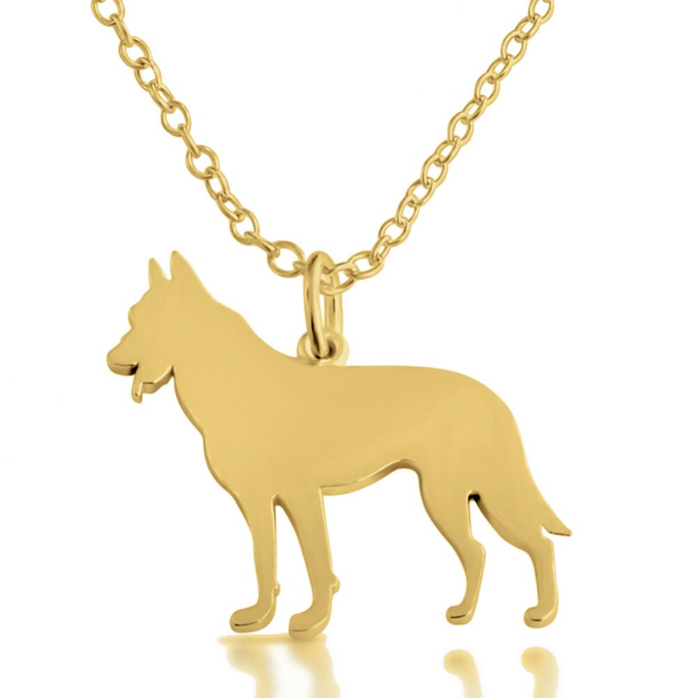 3f6f3266fb156 Gold plated necklace German Shepherd (Silhouette)