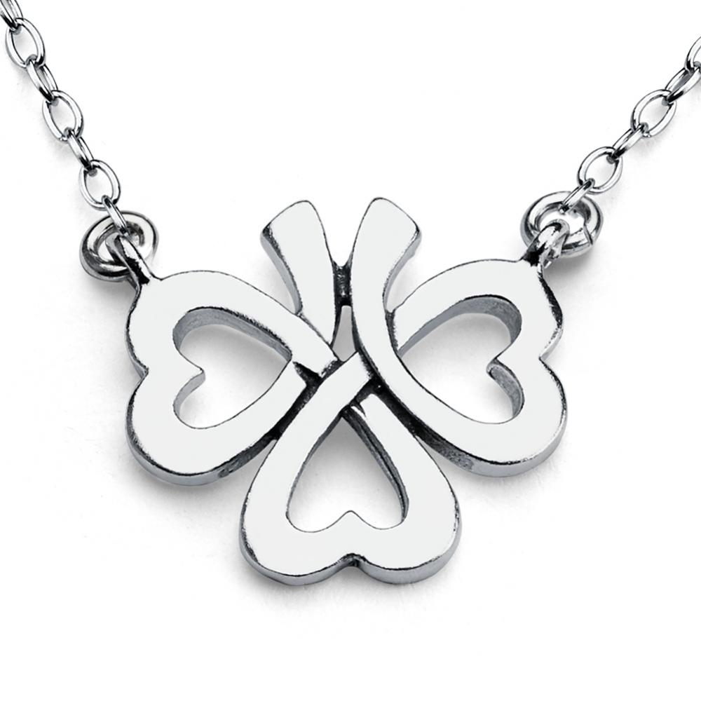 Azaggi Sterling Silver Handcrafted Upside Down Good Luck Four Leaf Clover Jump Ring Pendant Necklace 12