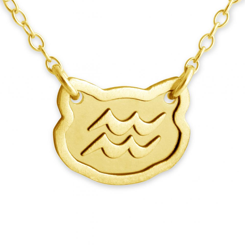 Zodiac Sign Gold Medallion Chain Necklaces 12 Variants: Gold Plated Necklace Aquarius Zodiac Sign