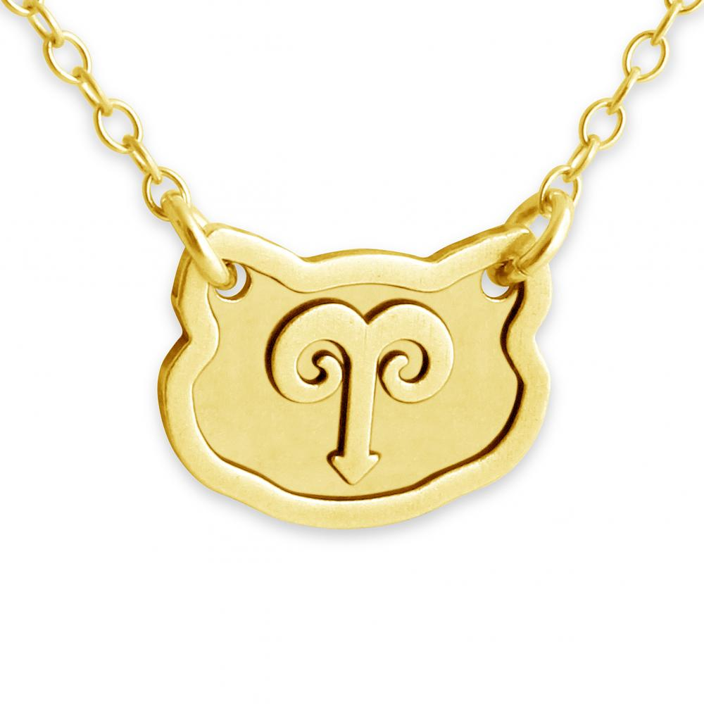 Zodiac Sign Gold Medallion Chain Necklaces 12 Variants: Gold Plated Necklace Aries Zodiac Sign
