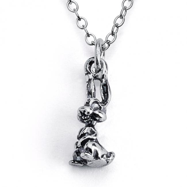 925 sterling silver necklace Solid 3D Bunny Rabbit