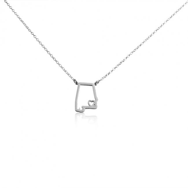 925 sterling silver necklace Alabama Home is Where The Heart Is State Necklace