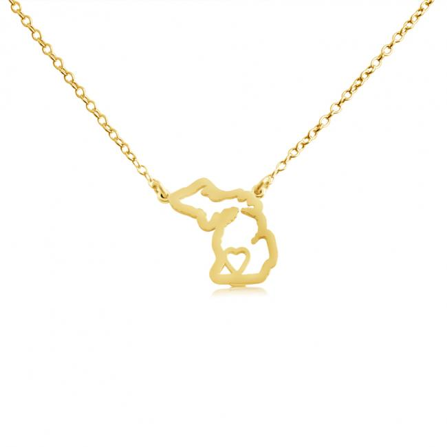 Gold plated necklace Michigan Home is Where The Heart Is State Necklace