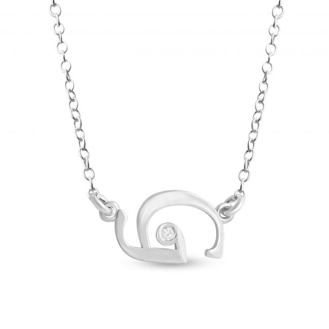 925 sterling silver necklace Initial Script Letter G with CZ Sideways