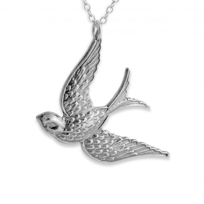 925 sterling silver necklace Flying Swallow Bird