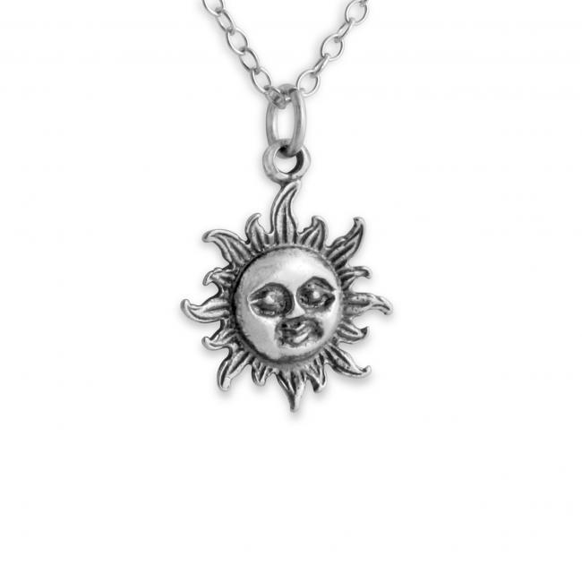 925 sterling silver necklace Smiling Sun Face Cute