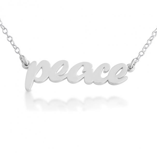 925 sterling silver necklace PEACE (Script Word)