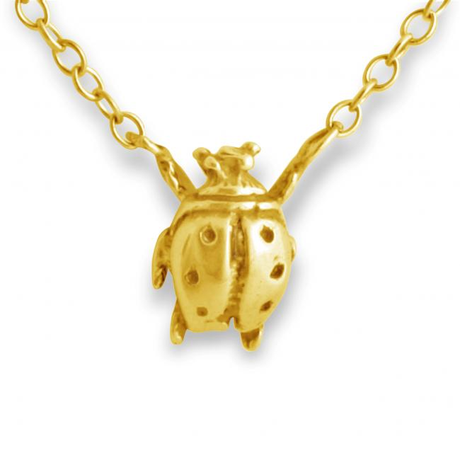 Gold plated necklace Ladybug Jump Ring Necklace