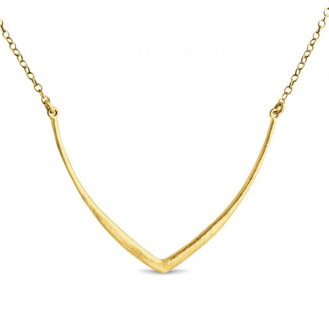 Gold plated necklace Textured Curved V Sideways