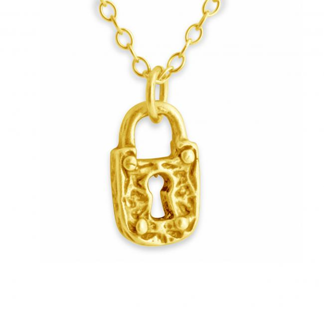 Gold plated necklace Mini Textured Padlock Double Sided Lock