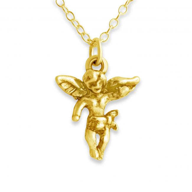Gold plated necklace Cherub Angel Religious