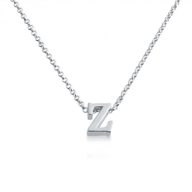 925 sterling silver necklace Initial Letter Z Personalized Symbols & Letters Serif Font