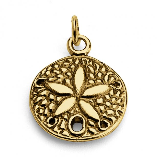 Gold plated necklace Sand Dollar Flower Double Sided