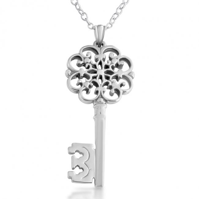 925 sterling silver necklace Filigree Key