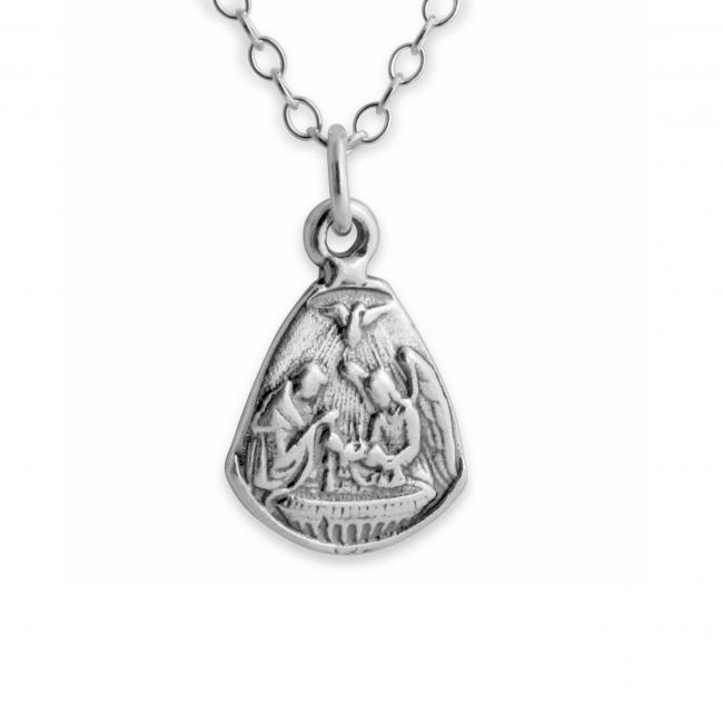 925 sterling silver necklace Baby Jesus and Angels Medallion Christmas Nativity Scene