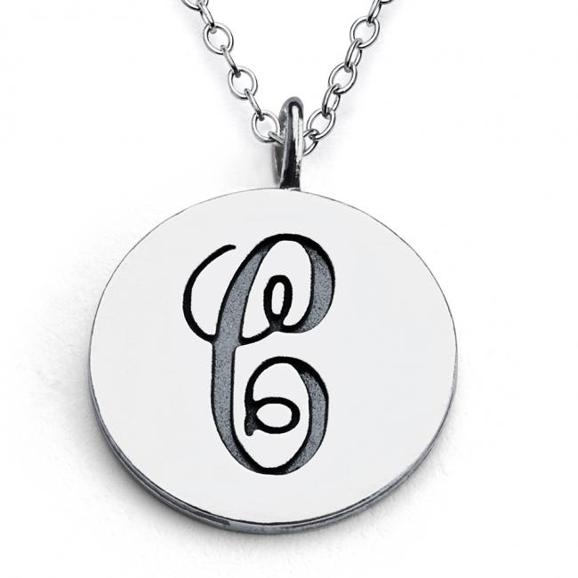 925 sterling silver necklace C Script Letters