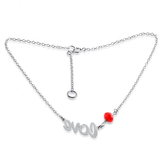 925 sterling silver anklet Love Charm Pendant Anklet w/ Red Agate Bead Gem