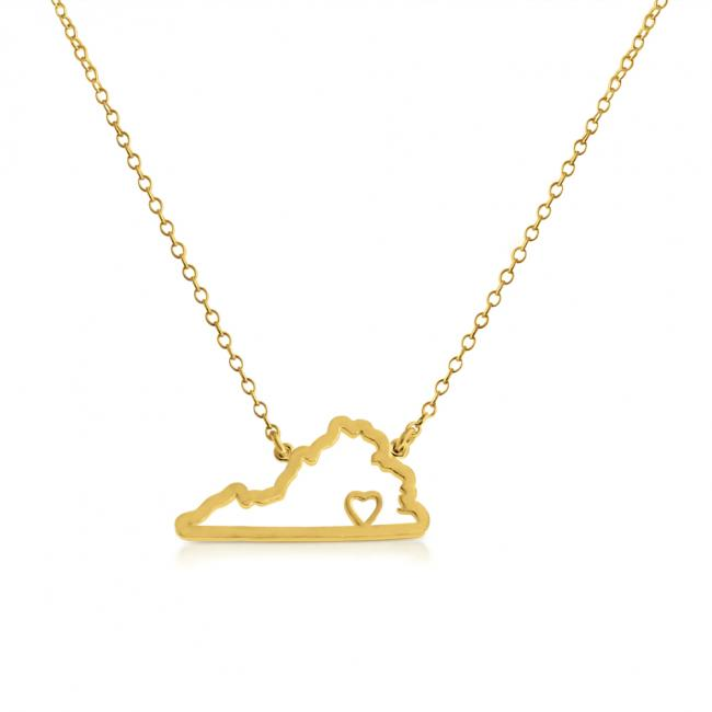 Gold plated necklace Virginia Home is Where The Heart Is State Necklace