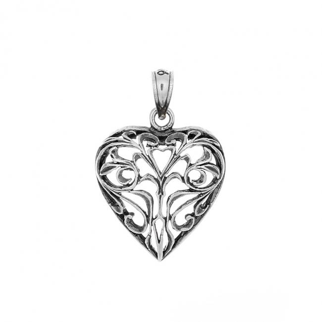 925 sterling silver necklace Vintage Openwork Heart Romantic Love