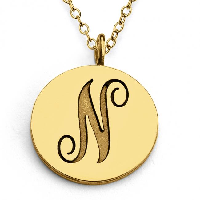Gold plated necklace N Script Letters