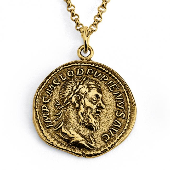 Gold plated necklace Replica Pupienus Roman Emperor Ancient COIN