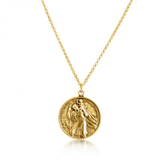 Gold plated necklace St. Christopher Protector of Travelers Medallion