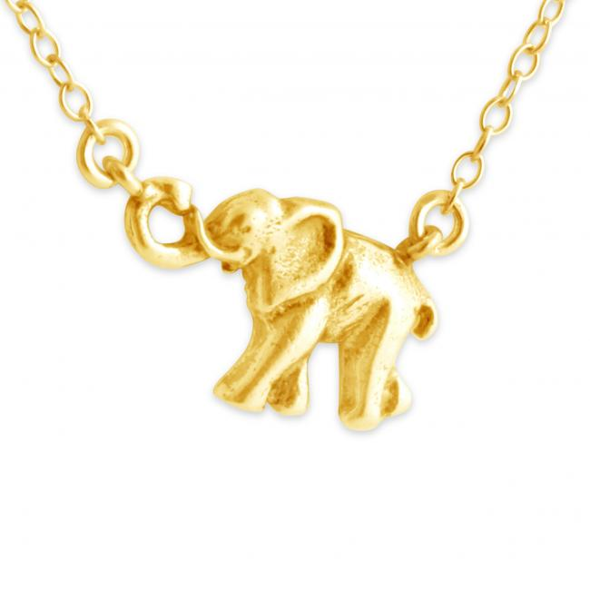 Gold plated necklace Marching Elephant Jump Ring Necklace