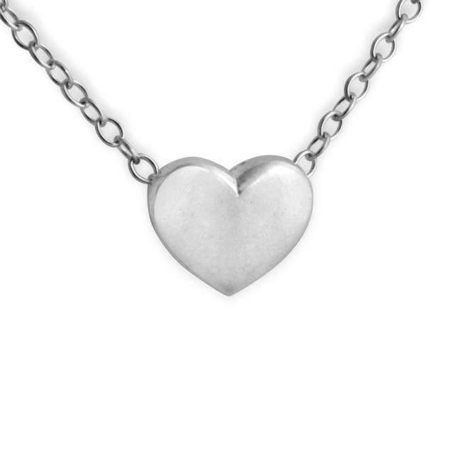 925 sterling silver necklace Solid Heart (Chain in Back)