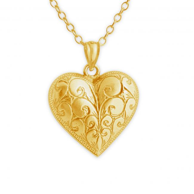 Gold plated necklace Vintage Etched Heart Romantic Love