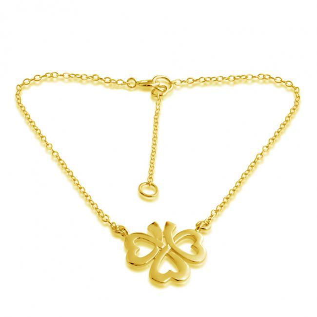 Gold plated anklet Heart Shamrock Clover Lucky Charm Pendant