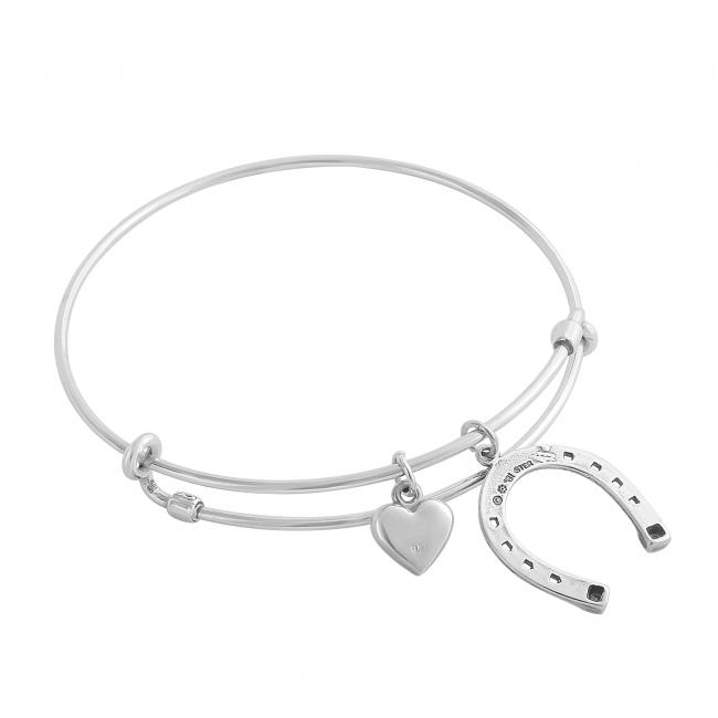 925 sterling silver bracelet Cowboy Heart Adjustable Wire Bangle
