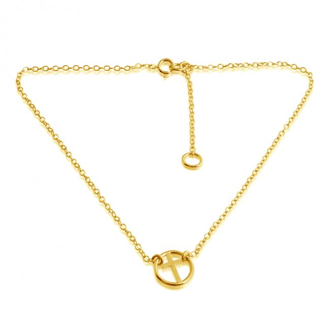 Gold plated anklet Circle of Life Sideways Cross Charm