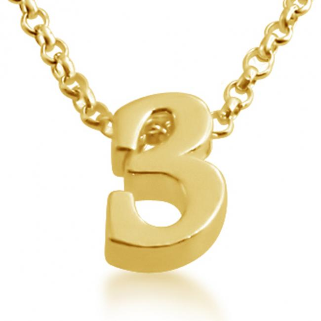 Gold plated necklace Initial Letter 3 Personalized Symbols & Letters Serif Font