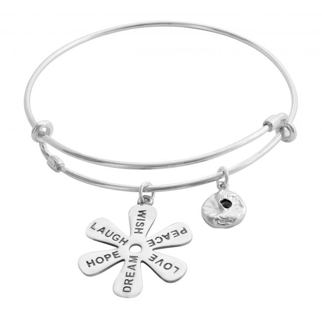 925 sterling silver bracelet Joyful Life Adjustable Wire Bangle