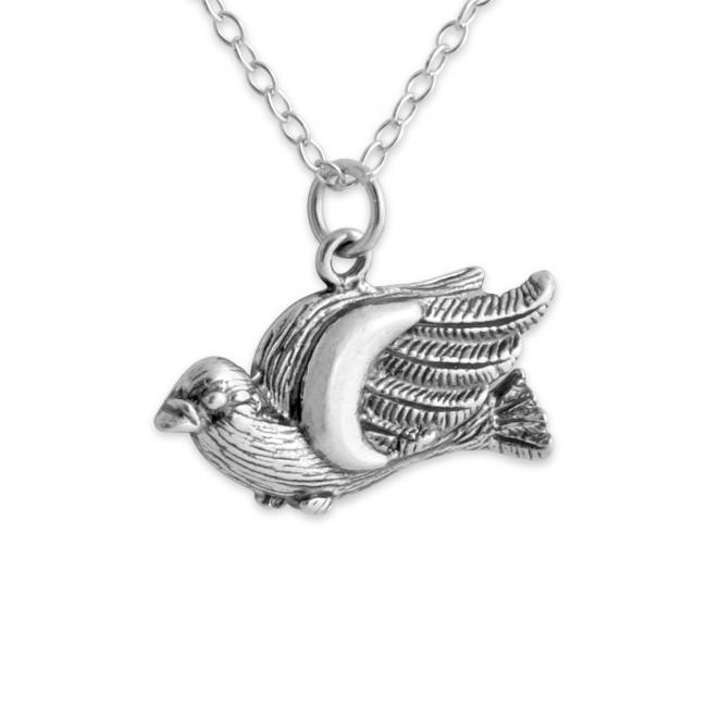 925 sterling silver necklace Wild Big Bird Ornithologist's
