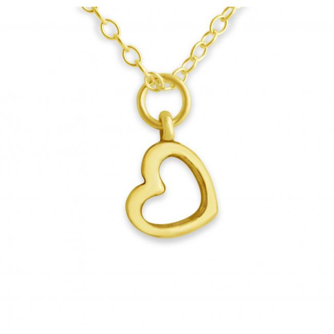 Gold plated necklace Tiny Outline Precious Heart