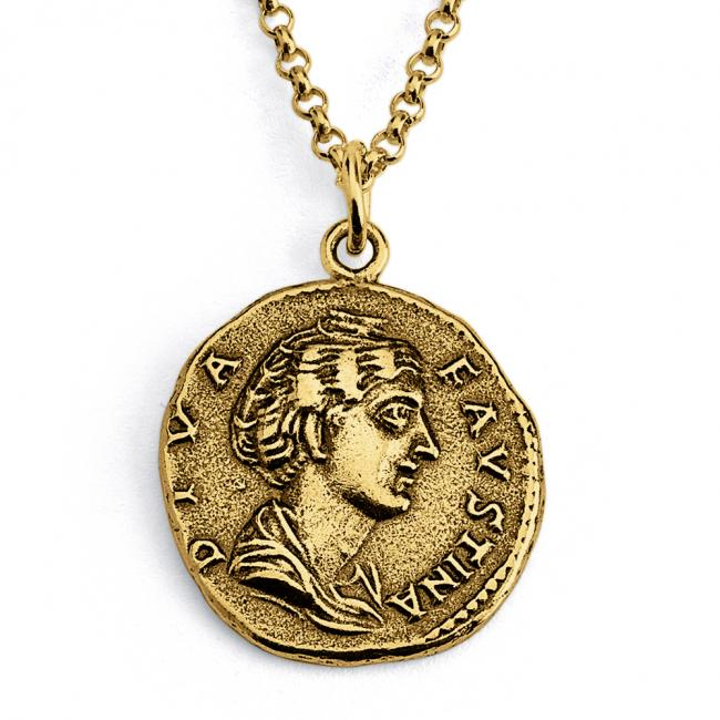 Gold plated necklace Replica Faustina Roman Ancient COIN