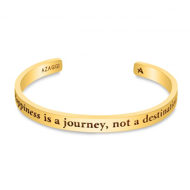 Gold plated bracelet Brass/ Rhodium Happiness is a journey, not a destination Inspirational Cuff Bracelet
