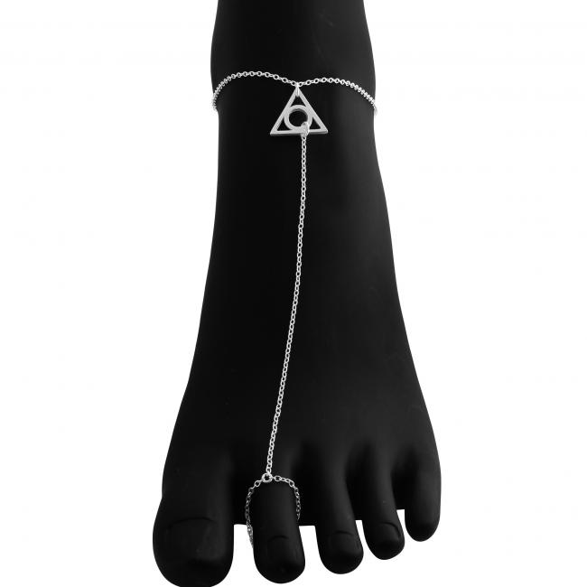 925 sterling silver anklet <strong>Illuminati</strong> Toe Ring Anklet