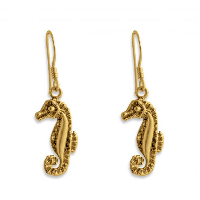 Gold plated earrings Seahorse