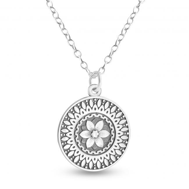 925 sterling silver necklace Mandala Flower Coin Sacred Path Spiritual Jorney