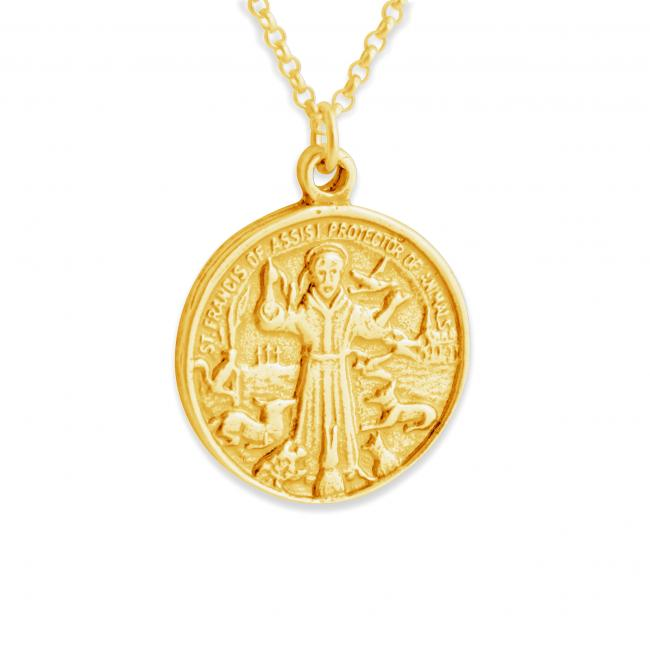 Gold plated necklace St. Francis of Assisi