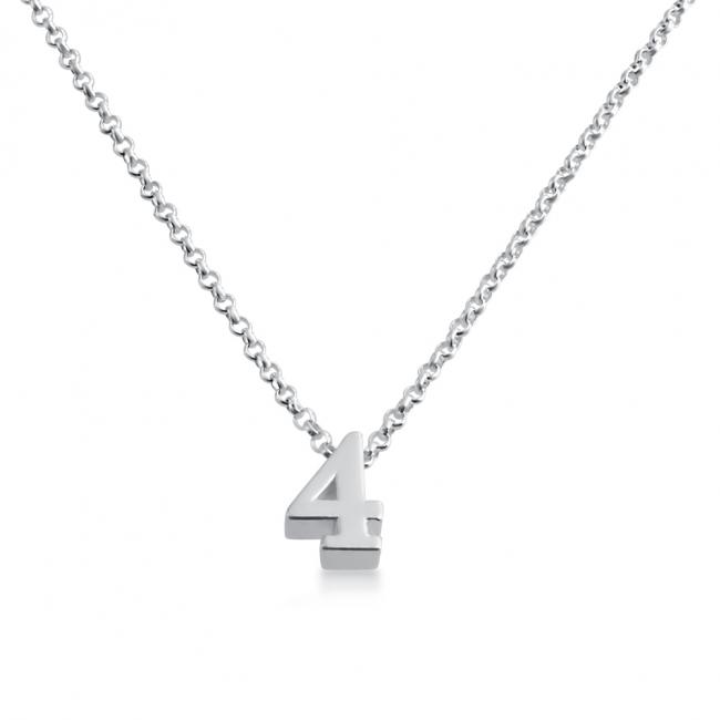 925 sterling silver necklace Initial Letter 4 Personalized Symbols & Letters Serif Font