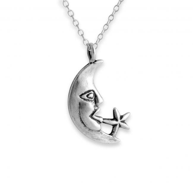 925 sterling silver necklace Moon Face & Star