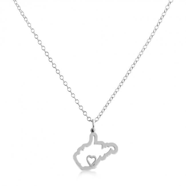 925 sterling silver necklace West Virginia Home is Where The Heart Is State Necklace