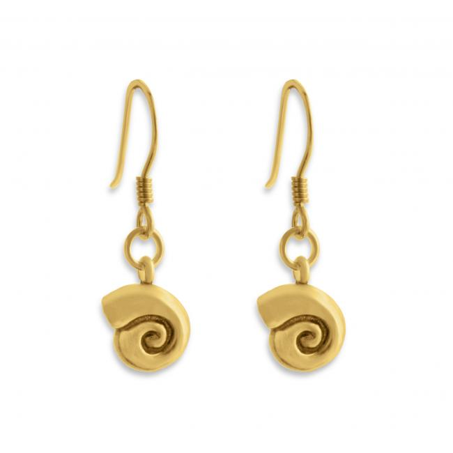 Gold plated earrings Snail Shell