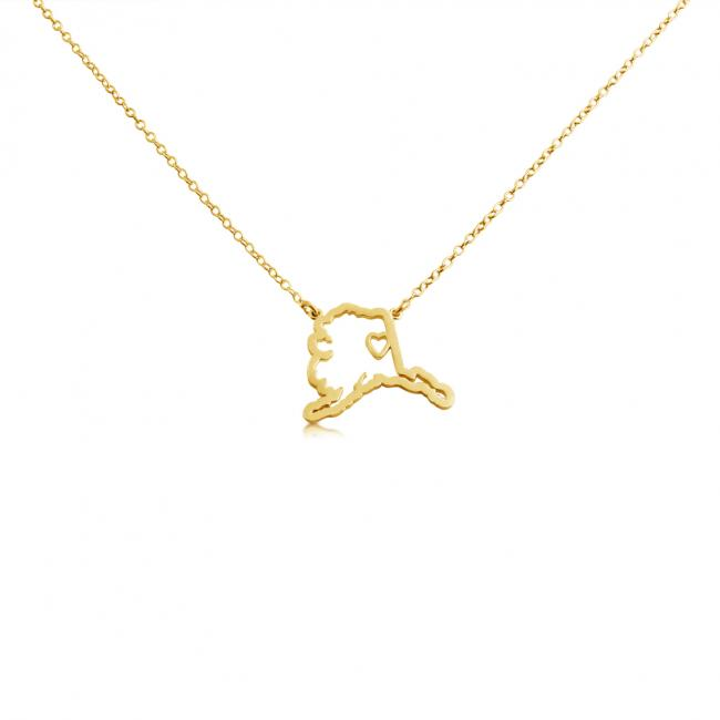 Gold plated necklace Alaska Home is Where The Heart Is State Necklace