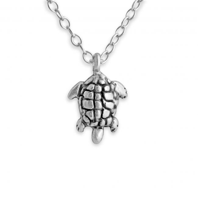 925 sterling silver necklace 3D Tiny Sea Turtle Tortoise Reptile